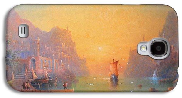 The Grey Havens. The Gulls Lament.  Oil On Canvas Galaxy S4 Case by Joe  Gilronan
