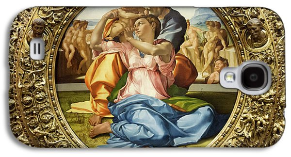 The Holy Family - Doni Tondo - Michelangelo - Round Canvas Version Galaxy S4 Case