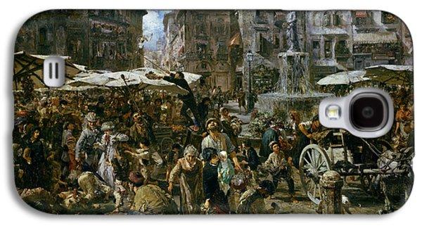 The Market Of Verona Galaxy S4 Case by Adolph Friedrich Erdmann von Menzel