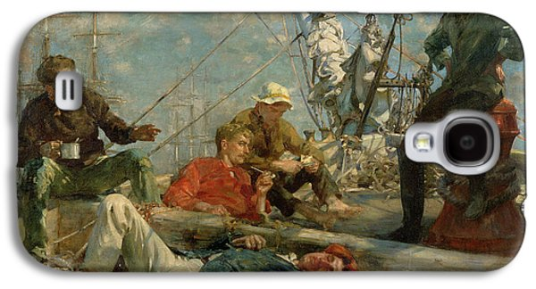 The Midday Rest Sailors Yarning Galaxy S4 Case by Henry Scott Tuke