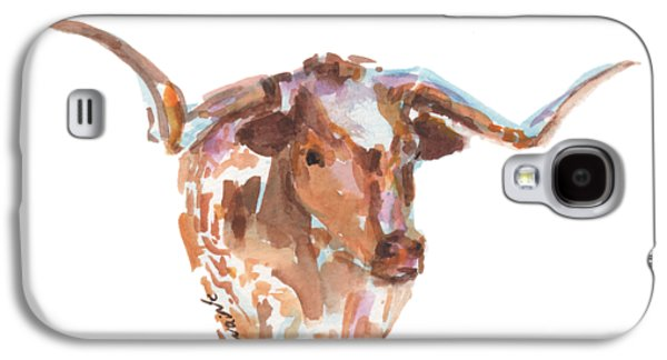 Cow Galaxy S4 Case - The Original Longhorn Standing Earth Quack Watercolor Painting By Kmcelwaine by Kathleen McElwaine