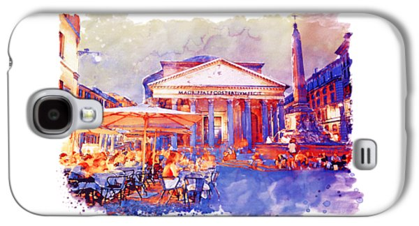 The Pantheon Rome Watercolor Streetscape Galaxy S4 Case