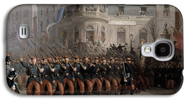 Pride Paintings Galaxy S4 Cases - The Return of the Troops to Paris from the Crimea Galaxy S4 Case by Emmanuel Masse