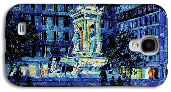 The Square Of Jacobins Illuminated - Lyon France - Modern Impressionist Palette Knife Painting Galaxy S4 Case