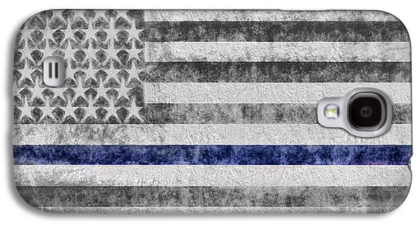 Galaxy S4 Case featuring the digital art The Thin Blue Line American Flag by JC Findley