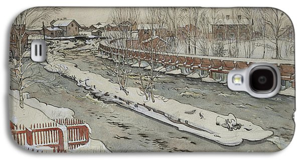 The Timber Chute, Winter Scene Galaxy S4 Case by Carl Larsson