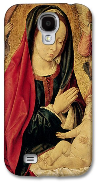 The Virgin And Child Adored By Angels  Galaxy S4 Case by Jean Hey