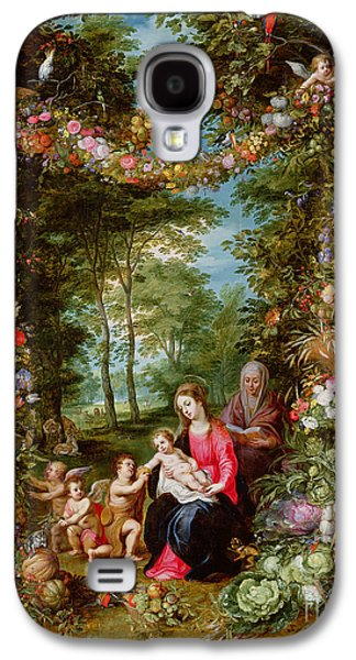 The Virgin And Child With The Infant Saint John The Baptist, Saint Anne And Angels, Surrounded By A  Galaxy S4 Case by Brueghel and Balen