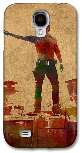 The Walking Dead Watercolor Portrait On Worn Distressed Canvas No 1 Galaxy S4 Case by Design Turnpike