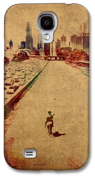 The Walking Dead Watercolor Portrait On Worn Distressed Canvas No 2 Galaxy S4 Case by Design Turnpike