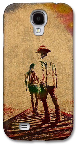 The Walking Dead Watercolor Portrait On Worn Distressed Canvas No 3 Galaxy S4 Case by Design Turnpike