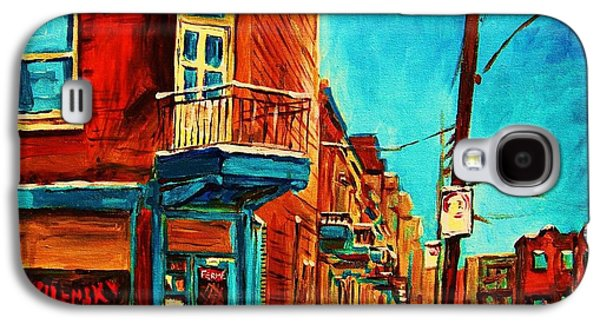 Quebec Streets Paintings Galaxy S4 Cases - The Wilensky Doorway Galaxy S4 Case by Carole Spandau