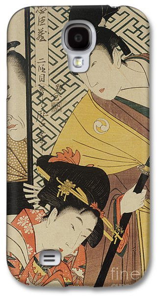 The Young Samurai, Rikiya, With Konami And Honzo Partly Hidden Behind The Door Galaxy S4 Case by Kitagawa Utamaro