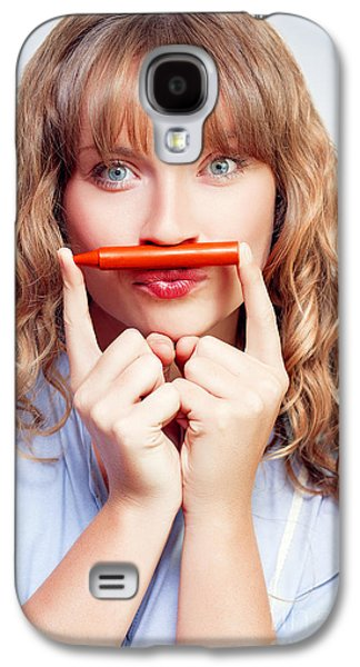 Thinking Student With Orange Crayon Moustache Galaxy S4 Case by Jorgo Photography - Wall Art Gallery