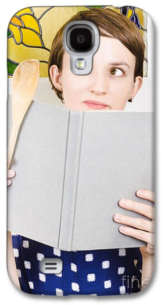 Thinking Woman Reading Cookbook In Kitchen Galaxy S4 Case by Jorgo Photography - Wall Art Gallery