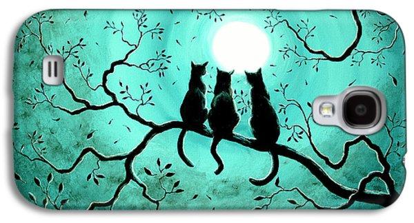 Three Black Cats Under A Full Moon Galaxy S4 Case