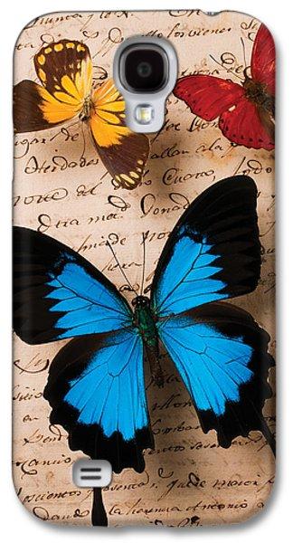 Three Butterflies Galaxy S4 Case by Garry Gay