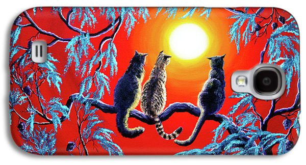 Three Cats In A Bright Red Sunset Galaxy S4 Case