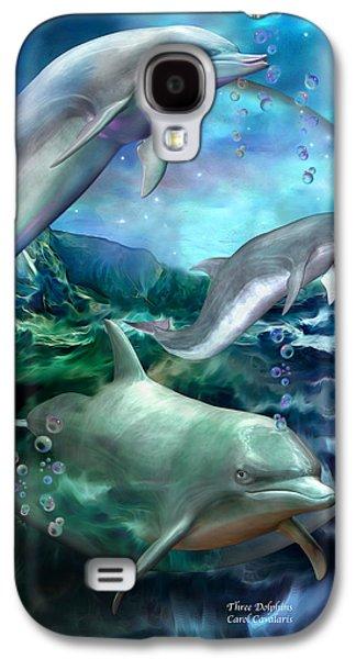 Three Dolphins Galaxy S4 Case by Carol Cavalaris