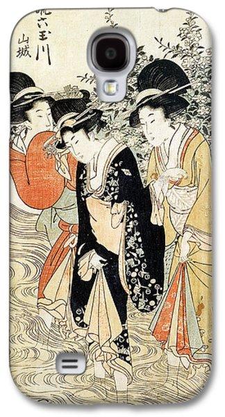 Three Girls Paddling In A River Galaxy S4 Case by Kitagawa Utamaro