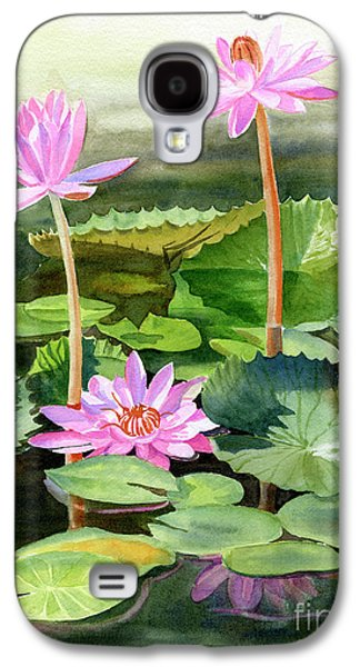 Lily Galaxy S4 Case - Three Pink Water Lilies With Pads by Sharon Freeman