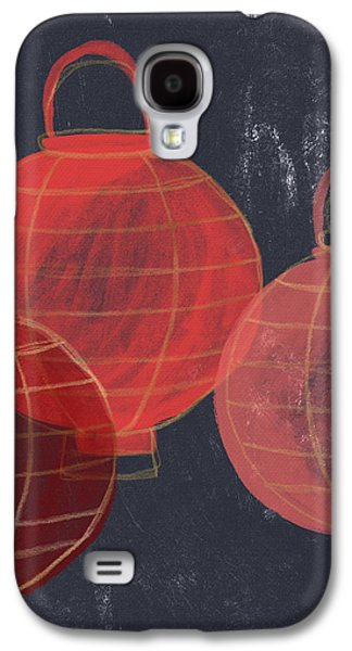 Three Red Lanterns- Art By Linda Woods Galaxy S4 Case by Linda Woods
