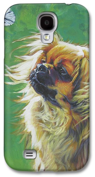 Tibetan Spaniel And Cabbage White Butterfly Galaxy S4 Case by Lee Ann Shepard