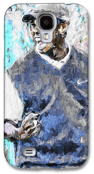 Tiger Woods One Blue Golfer Digital Art Galaxy S4 Case by David Haskett