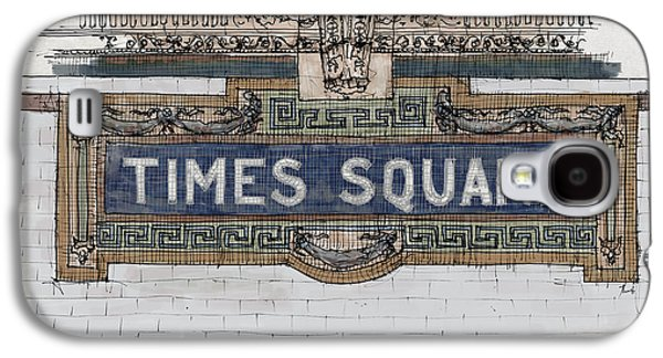 Tile Mosaic Sign, Times Square Subway New York, Handmade Sketch Galaxy S4 Case by Pablo Franchi