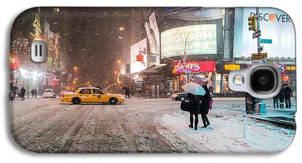 Times Square Snow - Winter In New York City Galaxy S4 Case by Vivienne Gucwa