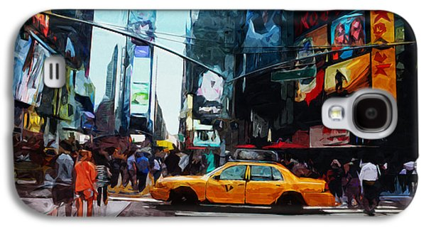 Times Square Taxi- Art By Linda Woods Galaxy S4 Case