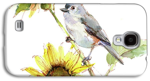 Titmouse Galaxy S4 Case - Titmouse With Sunflower by John Keeling