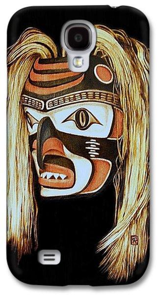 Tlingit Shark Mask In Color Galaxy S4 Case by Cynthia Adams