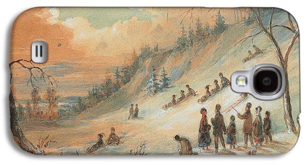 Tobogganning On A Hillside Galaxy S4 Case by James D Duncan
