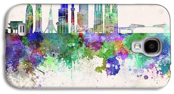 Tokyo V3 Skyline In Watercolor Background Galaxy S4 Case by Pablo Romero