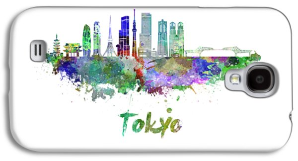 Tokyo V3 Skyline In Watercolor Galaxy S4 Case by Pablo Romero