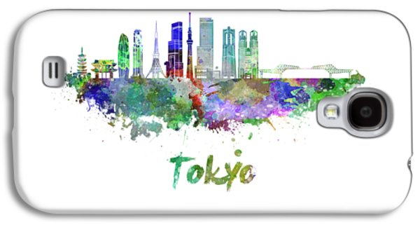 Tokyo V3 Skyline In Watercolor Galaxy S4 Case