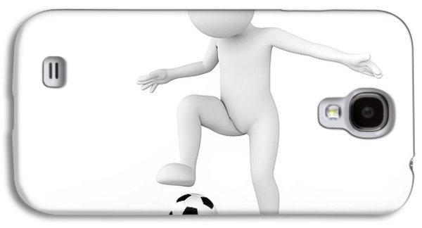 Toon Man Soccer Player Dribbling The Ball. Football Concept Galaxy S4 Case