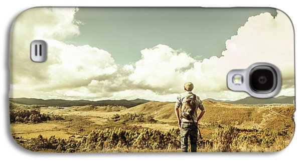 Tourist With Backpack Looking Afar On Mountains Galaxy S4 Case by Jorgo Photography - Wall Art Gallery