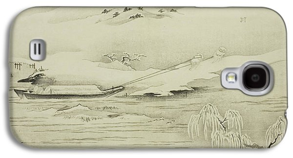 Towing A Barge In The Snow Galaxy S4 Case by Kitagawa Utamaro