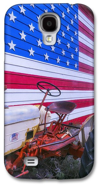 Tractor And Large Flag Galaxy S4 Case by Garry Gay