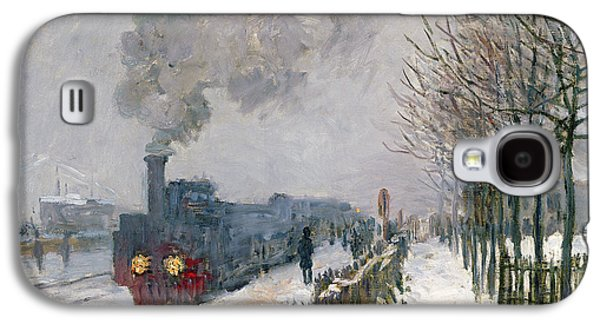 Snow Paintings Galaxy S4 Cases - Train in the Snow or The Locomotive Galaxy S4 Case by Claude Monet