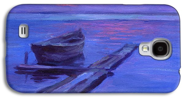 Purple Drawings Galaxy S4 Cases - Tranquil boat sunset painting Galaxy S4 Case by Svetlana Novikova