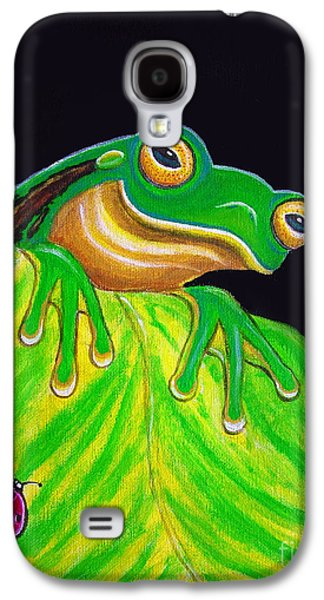 Tree Frog On A Leaf With Lady Bug Galaxy S4 Case by Nick Gustafson