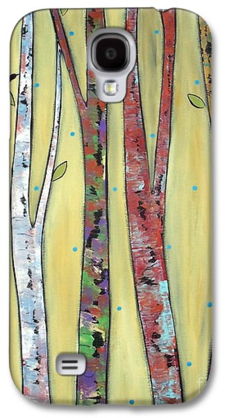 Abstract Prints For Sale Paintings Galaxy S4 Cases - Trees On Yellow Galaxy S4 Case by Karla Gerard