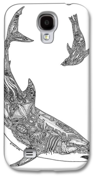 Tribal Great White And Sea Lion Galaxy S4 Case by Carol Lynne