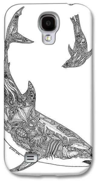 Sharks Galaxy S4 Case - Tribal Great White And Sea Lion by Carol Lynne