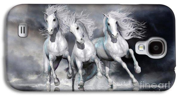 Trinity Galloping Horses Blue Galaxy S4 Case