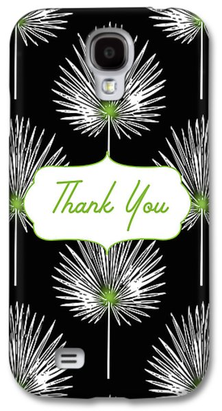 Tropical Leaf Thank You Black- Art By Linda Woods Galaxy S4 Case