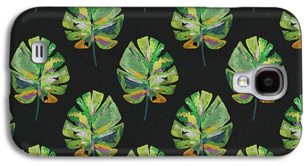 Tropical Leaves On Black- Art By Linda Woods Galaxy S4 Case by Linda Woods